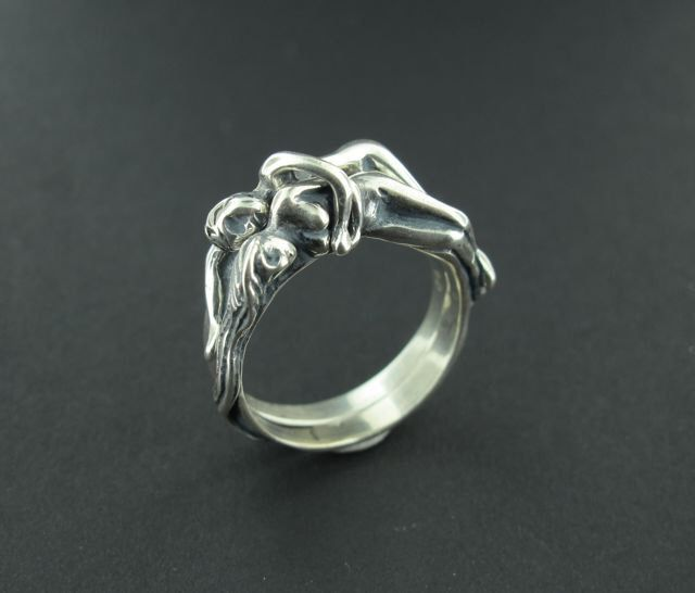 Wedding Ring People Ring Puzzle Ring Silver Spooning Lovers Ring