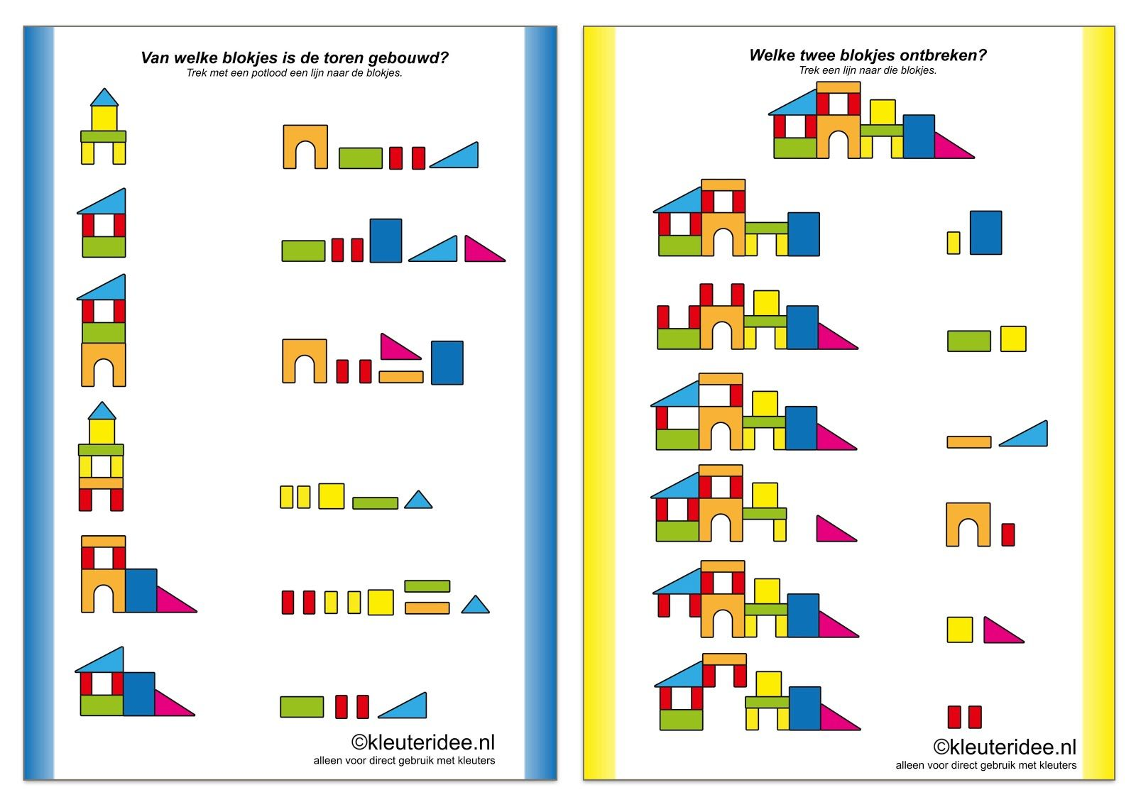 Free Building Block Worksheets From Kleuteridee Instructions Translate As Follows Which