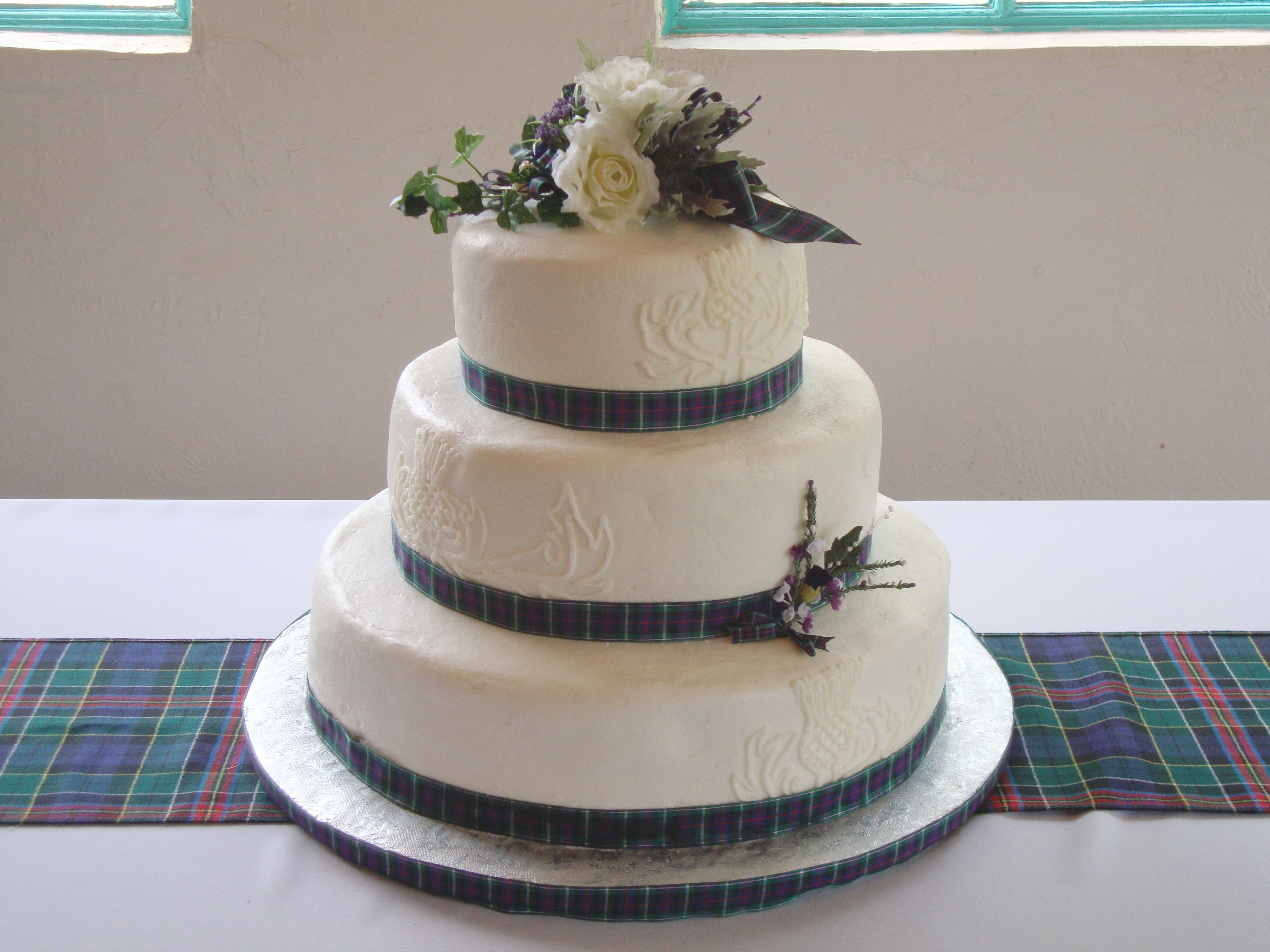 Scottish Wedding Cake Designs On Sides Are Piped On Thistles