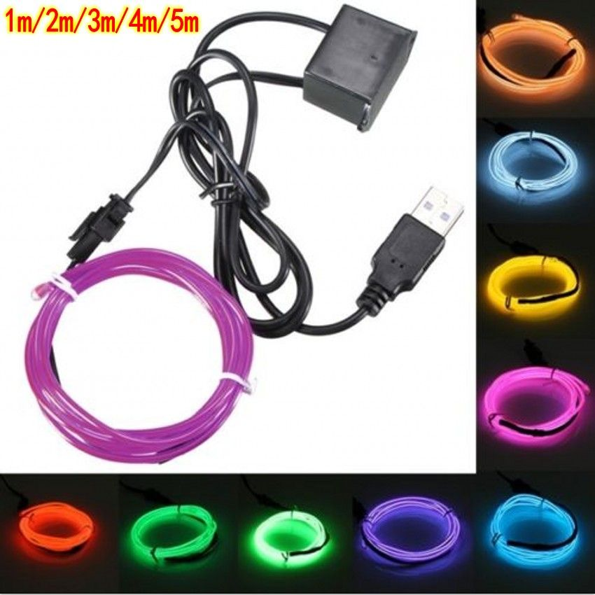 5V 1m/3m/5M USB EL wire flexible Glow EL tape tube Strip LED Lights ...