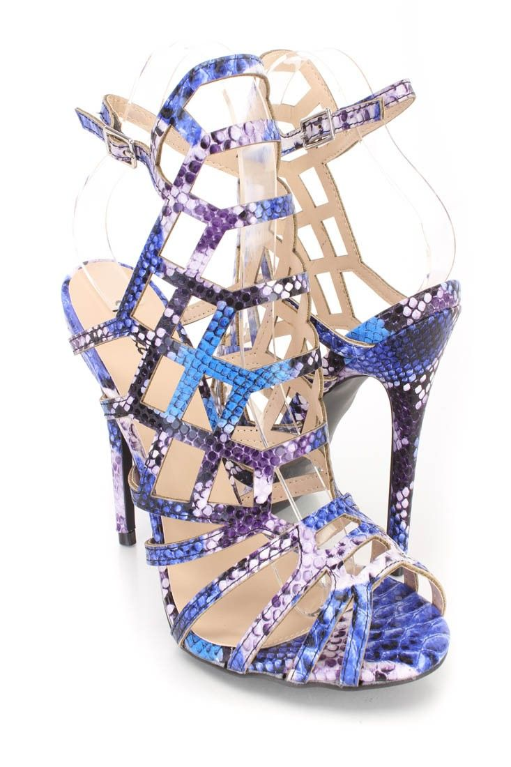 016776df22e Blue Snake Skin Print Strappy Cut Out Single Sole Heels Faux Leather ...