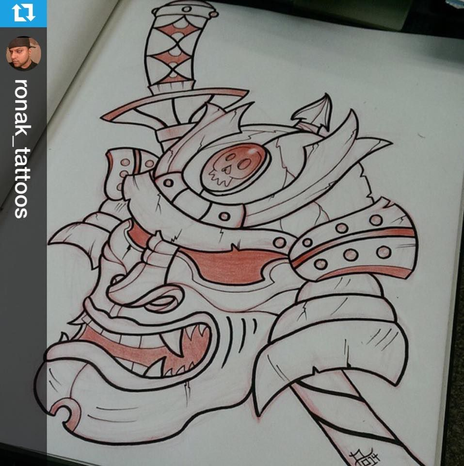 This Neo Traditional Samurai Piece Was Designed By Our Apprentice Ronak Contact Us For More Informa Soul Tattoo Becoming A Tattoo Artist Tattoo Apprenticeship