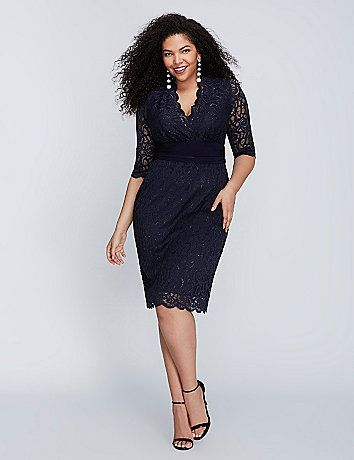 The metallic lace on this Kiyonna dress simply shines. Scalloped edges. Sheer sleeves. Elastic banded waist. No-closure, pull-over styling. Lined. lanebryant.com