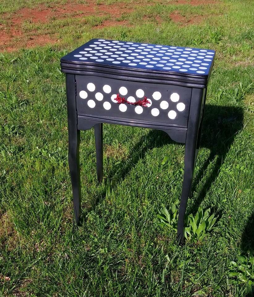 Sewing cabinet turned foyer table