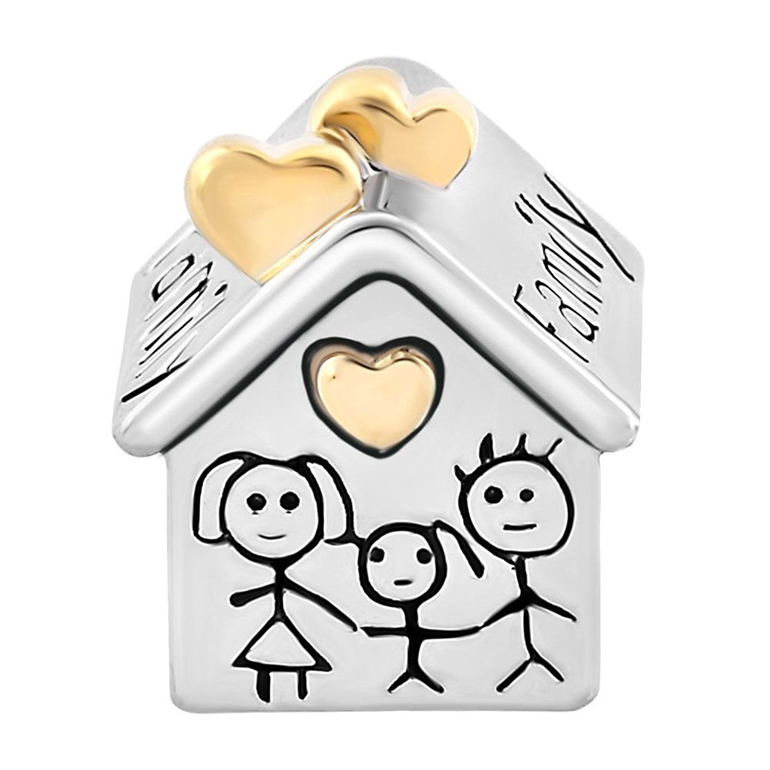 Uniqueen Family House Mother Father Child Together Silver Charm Beads fits chamilia & troll Bracelet 9eIotVz5be