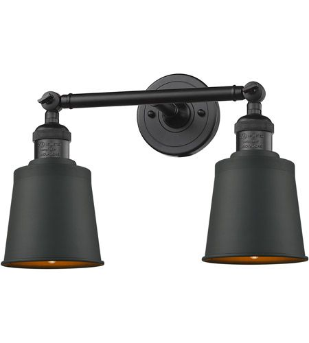 Photo of Innovations Lighting 208-BK-M9-BK Addison 2 Light 16 inch Matte Black Bath Vanity Light Wall Light, Franklin Restoration