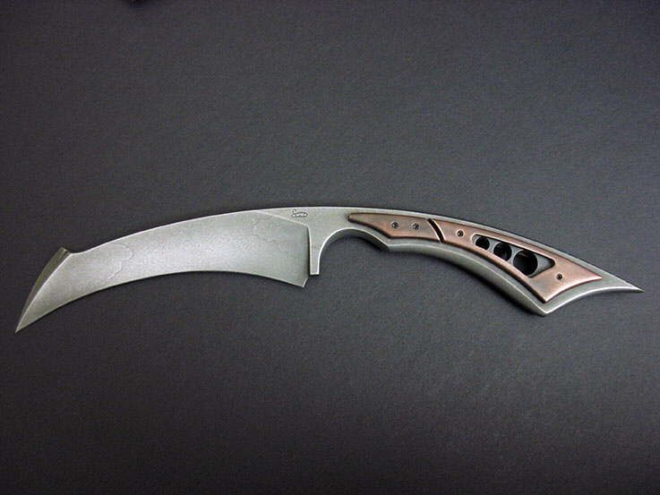 "Stonewood Designs Custom Karambit Style Knife 049.  O1 tool steel blade, pierced copper handles, kydex sheath with copper  9"" OAL, 1/4"" thick, 4-1/4"" blade"