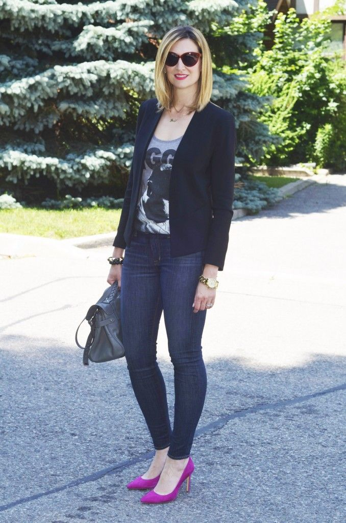 6a21a4f6ab3 HOw to wear pink heels on casual friday at the office  indigo skinny jeans