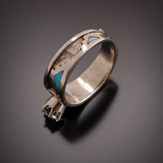 navajo wedding rings begay jewelry navajo women s white gold and inlay sacred 6110