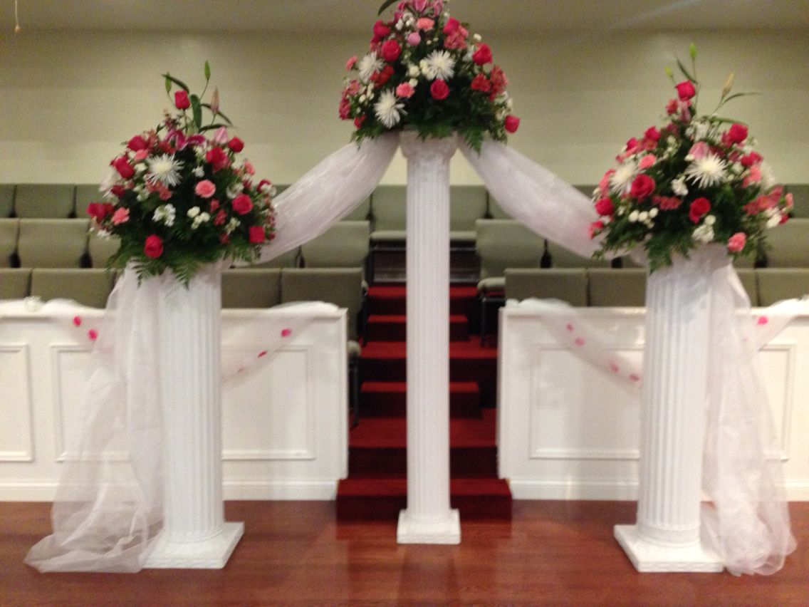 Wedding Ceremony Decorations Pillars With Fresh Flower Arrangements