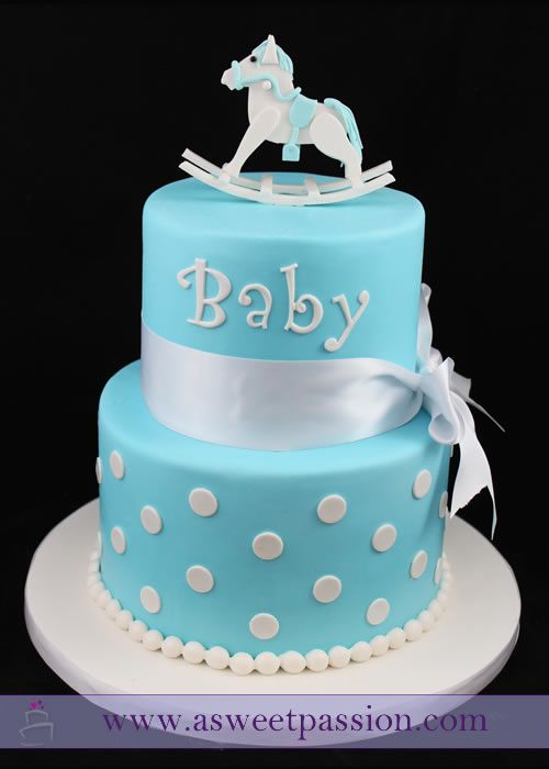 A rocking horse baby shower cake inspired by the invitation.  So excited to welcome this baby boy!