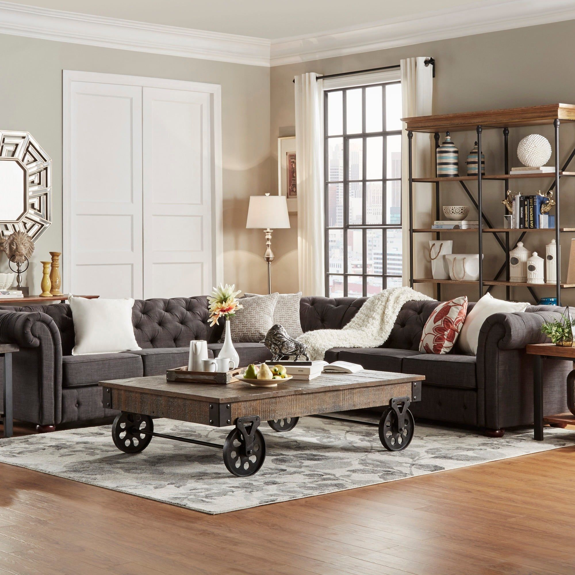 Knightsbridge Tufted Scroll Arm Chesterfield 7-seat L-shaped Sectional by  iNSPIRE Q Artisan (Beige Linen), Brown (Bonded Leather)