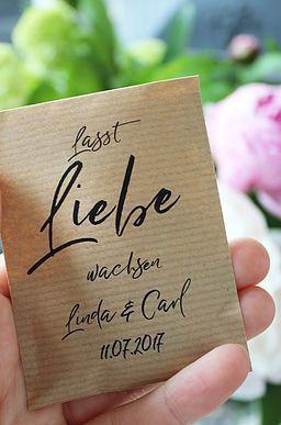 """Gastgeschenk Hochzeit """"Lasst Liebe wachsen"""" Papiertüten vintage für Blumensame"""