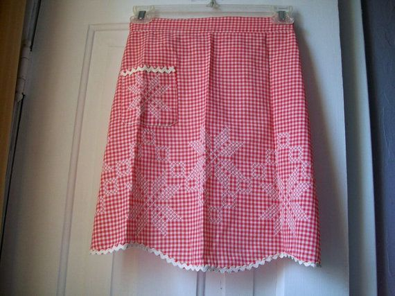 Vintage Apron Embroidered Apron Gingham Apron by VintagePlusCrafts, $10.00