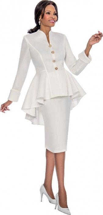f75eb7da96 Style 3828 from Susanna is a two piece ladies  church suit with a high low  peplum jacket.