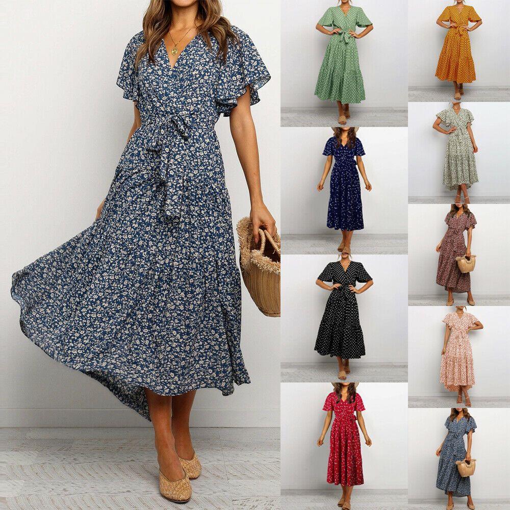 kleider damen freizeit sommer rüschen hemd kleid urlaub