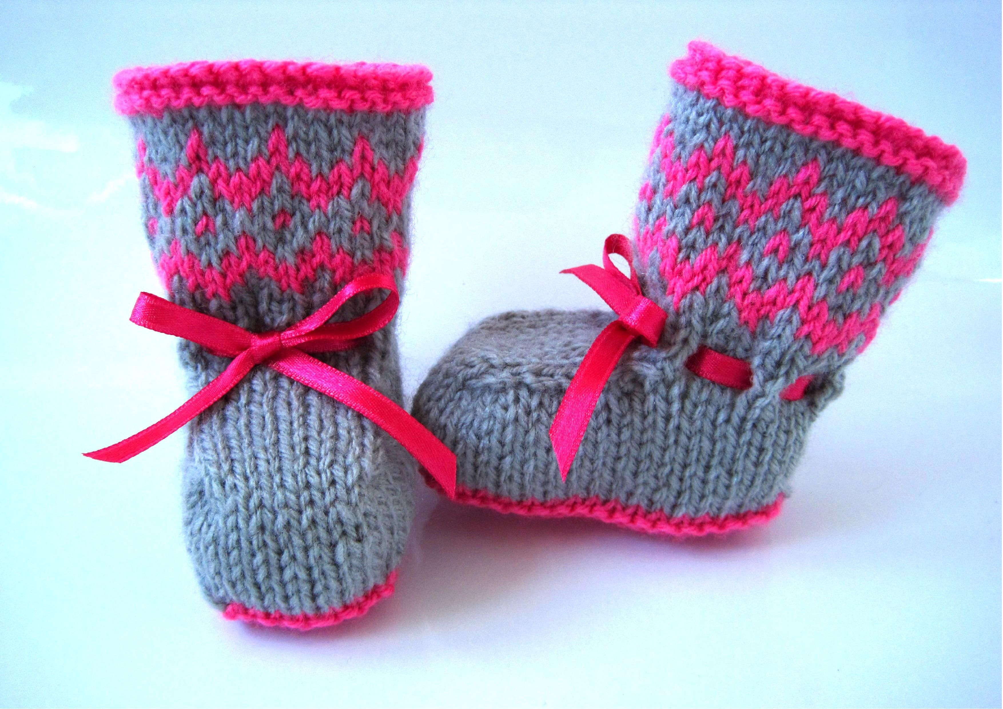 knitting pattern baby booties fairisle colour-work intarsia pink ...