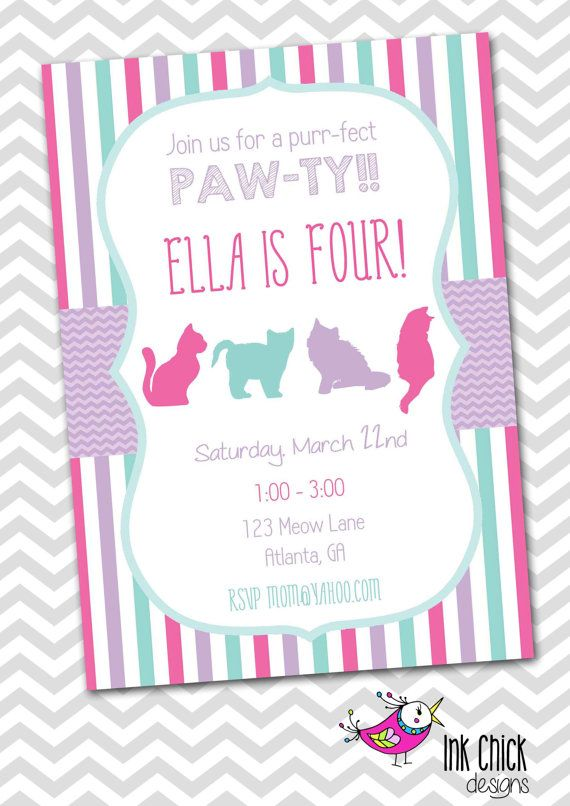 PRINTABLE Kitten Birthday Party Invitation Personalized Pink – Cat Party Invitations