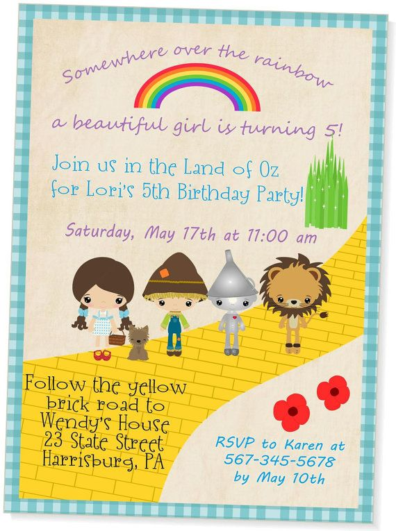 Wizard of Oz Invitation Wizard of Oz Invites Wizard of Oz Birthday