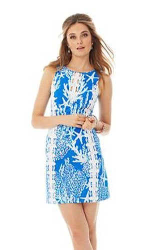 ab416c22633b LILLY PULITZER Tropical Blue Hawaiian Coral Starfish Lace Shift Dress Sz 6 # LillyPulitzer #ShiftDress #Casual