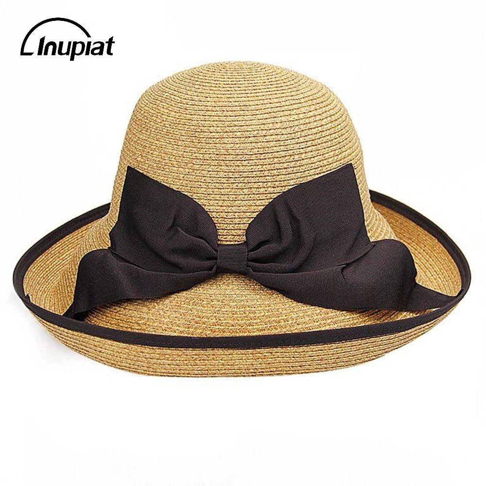 Women s Hats for 2018 Summer Wide Brim UV Protection Straw Sun Hats with  Bow Decoration Beach a6b8d65d011f