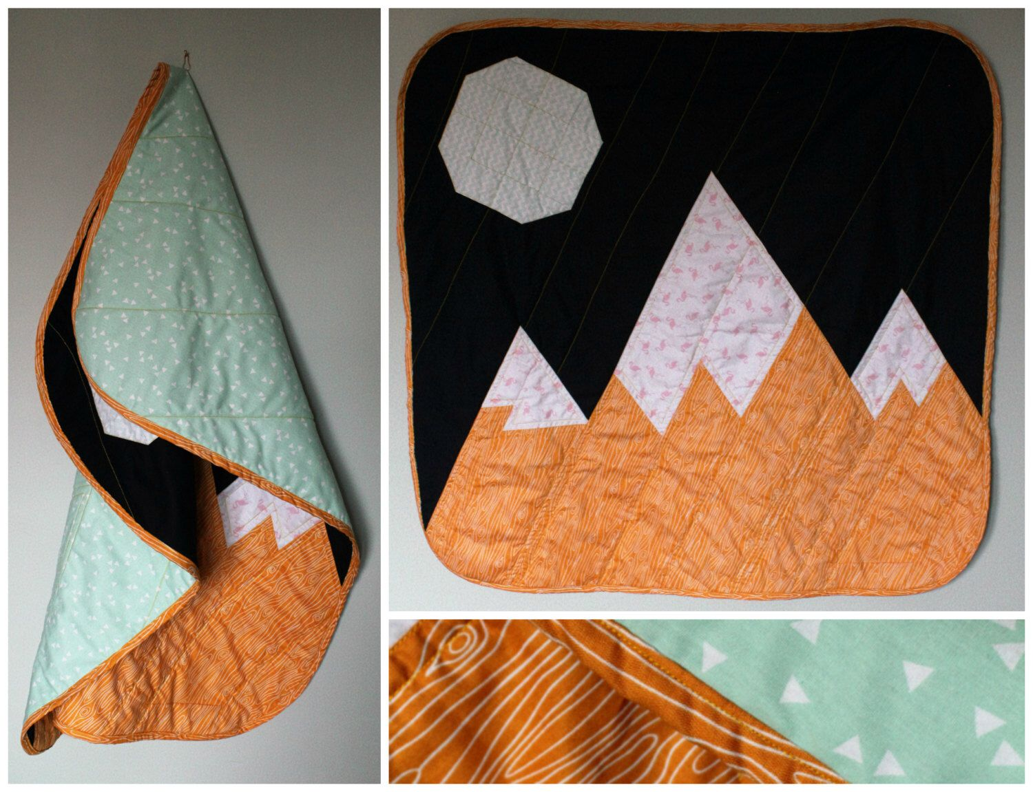 mountain baby play mat handmade quilted travel blanket for a  - mountain baby play mat handmade quilted travel blanket for a modernnursery contemporary gender neutral gift scandi nordic moonlight