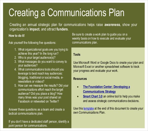 Sample Communication Plan Communications Plan Template Download As