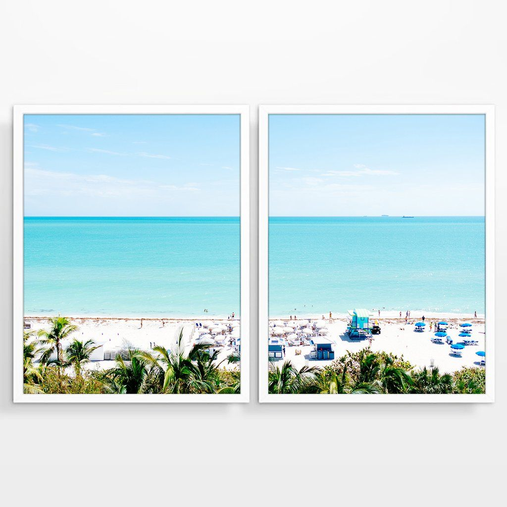 Miami Beach Florida From Above Photography Prints Set Of 2