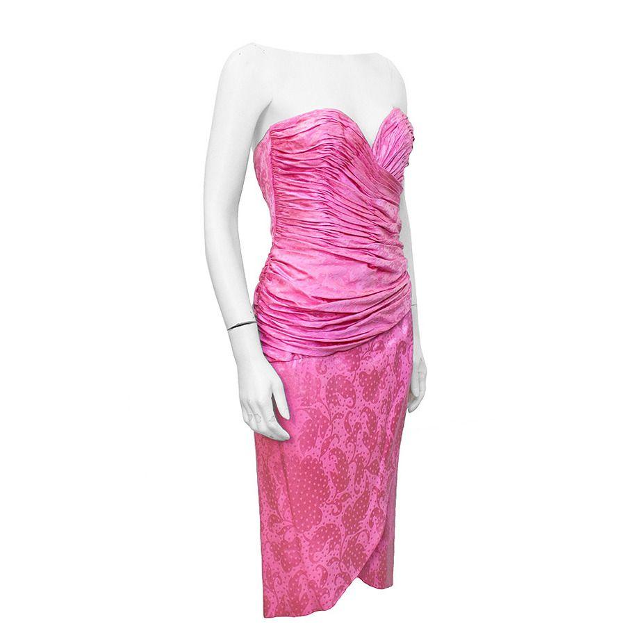 Vicky tiel pink silk jacquard cocktail dress circa us pink