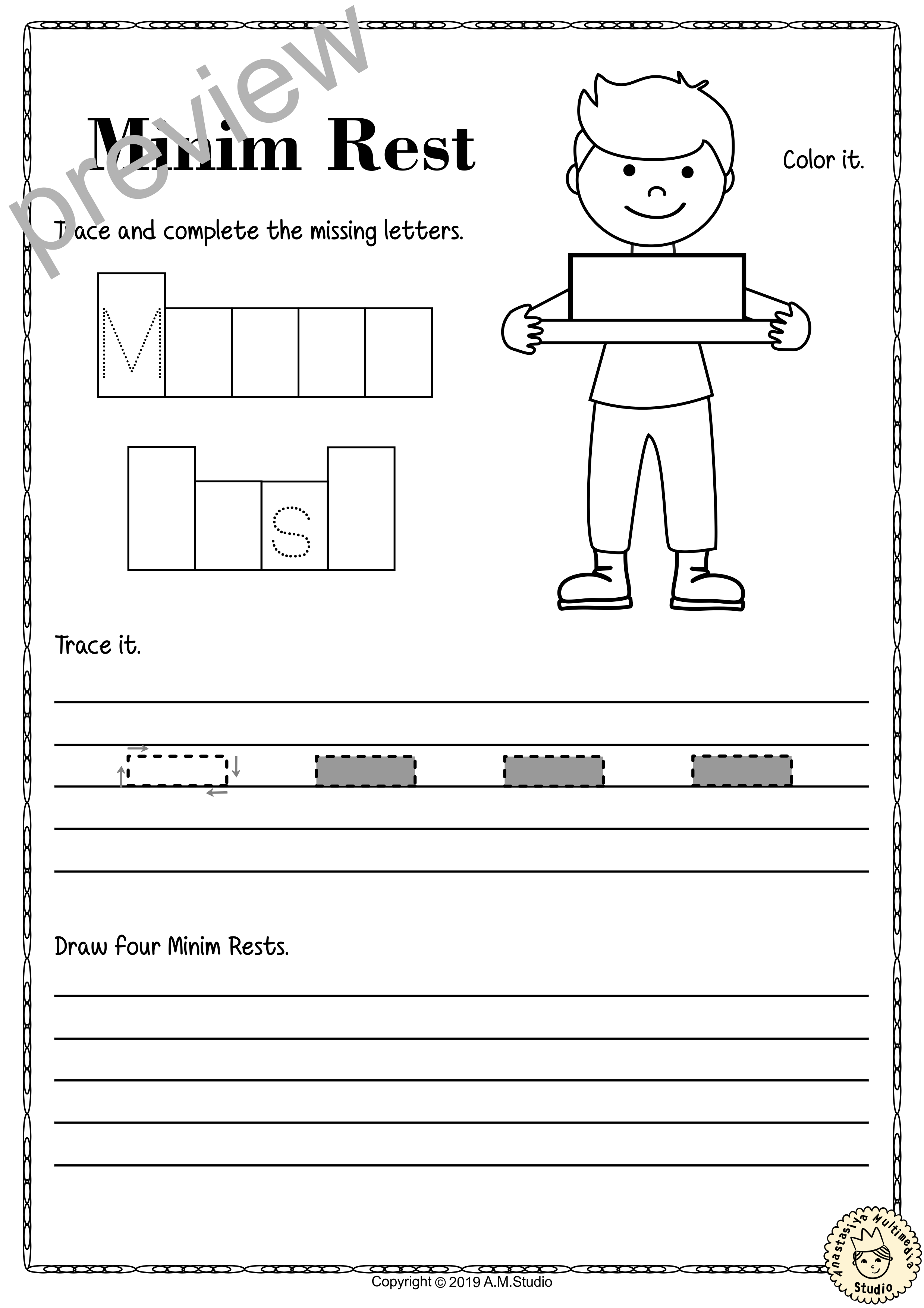 Tracing Music Notes Worksheets For Kids British
