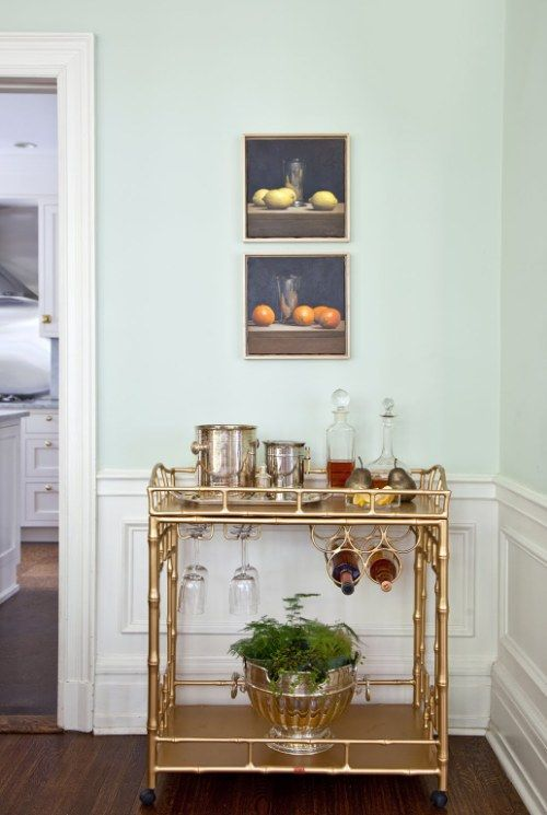 Bar Cart With Built In Wine Rack And Stemware