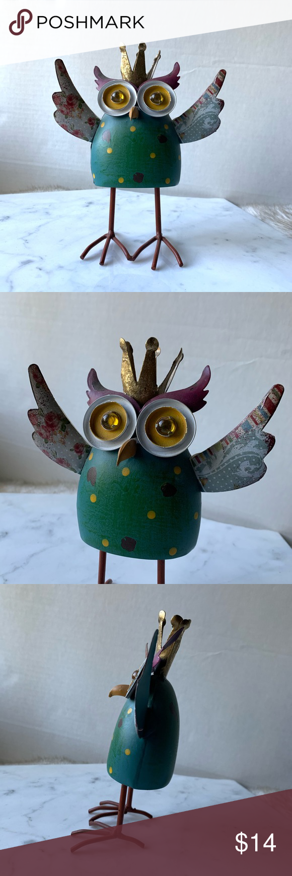 "Rustic Modern Bobble Metal Owl An adorable metal owl Knick knack. Has a hidden spring so it bobbles back and forth. Multiple colors and prints. Lightweight metal material. In great condition.  Measurements (approx) Height 8"" Width 6"" Accents Decor #knickknack Rustic Modern Bobble Metal Owl An adorable metal owl Knick knack. Has a hidden spring so it bobbles back and forth. Multiple colors and prints. Lightweight metal material. In great condition.  Measurements (approx) Height 8"" Width 6� #knickknack"
