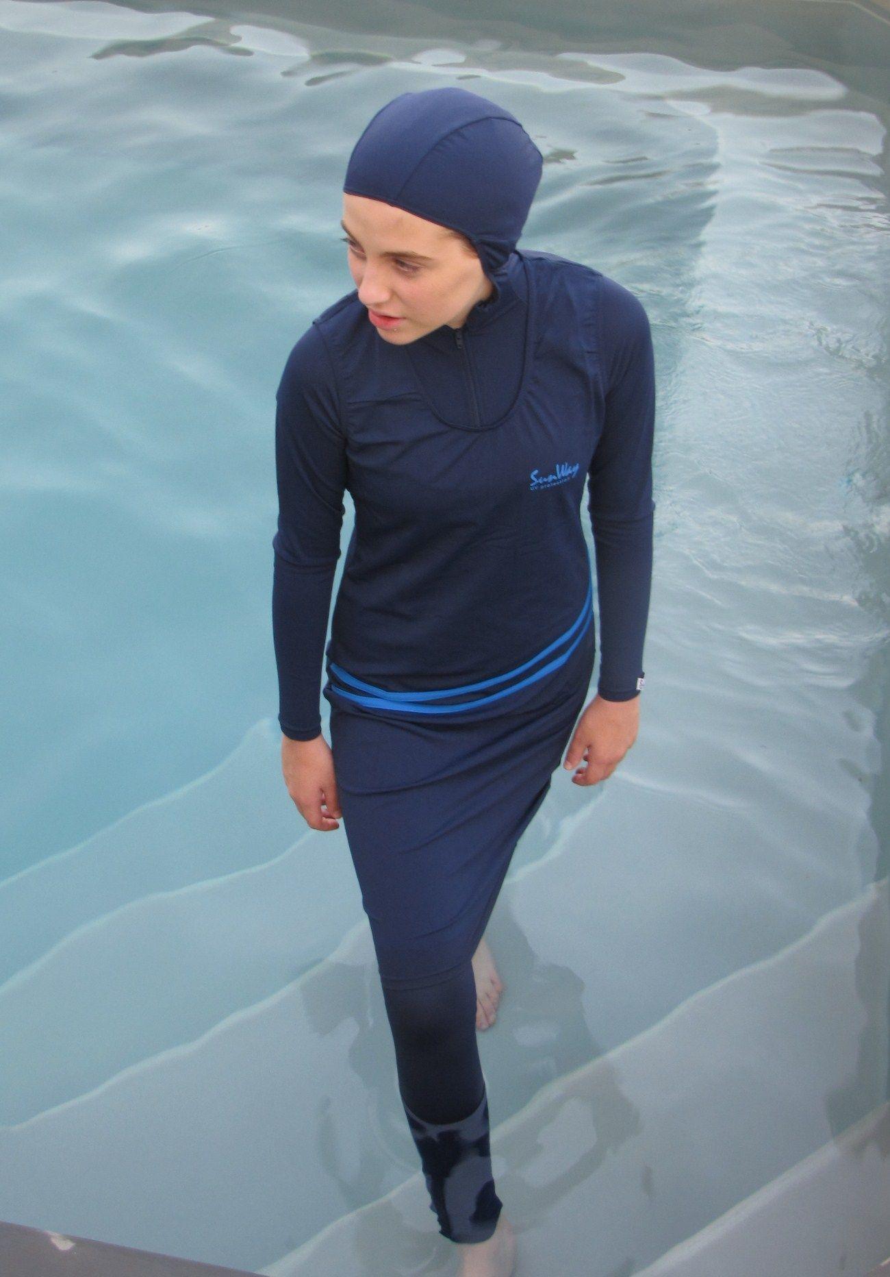 5f3bf2aba028d Burqini swimwear covers the entire body, including the head. #burqini # burkini