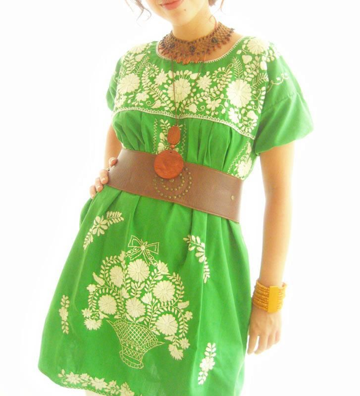 El Arbol green Mexico embroidered puff sleeve