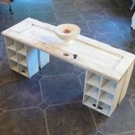 upcycle an old cupboard door into a coffee table...what about a front door? With crates and drawers underneath ...?