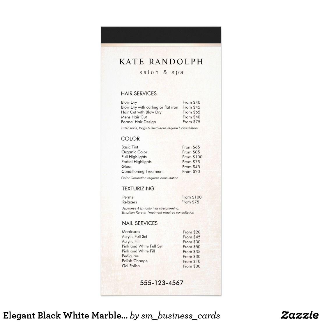 Wedding Hairstyle Price List: Elegant Black White Marble Salon Price List Menu