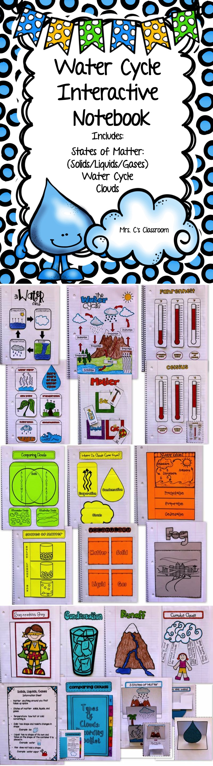 WATER CYCLE CLOUDS MATTER Solids Liquids Gases Interactive Notebook