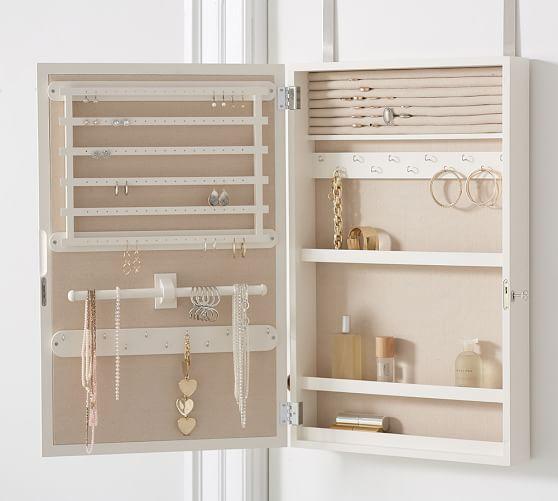 Clara Over The Door Jewelry Mirror Jewelry Mirror Diy Jewelry Organizer Box Pottery Barn Jewelry Over the door jewelry mirror