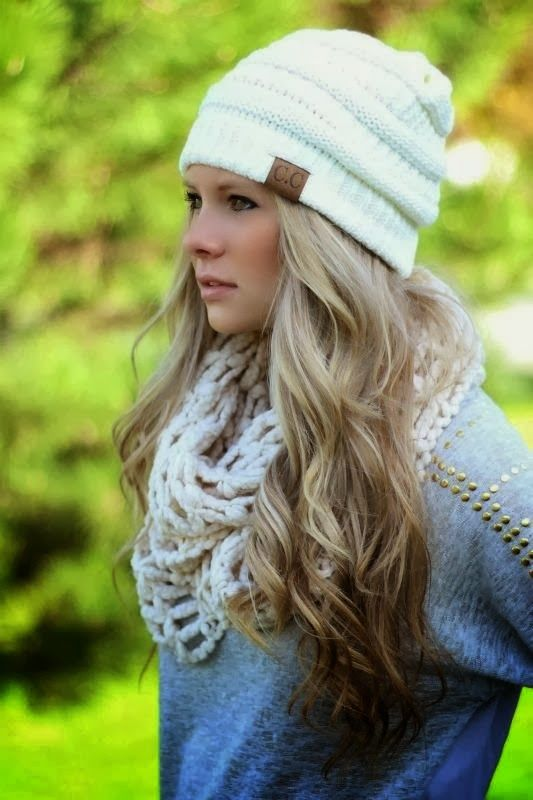 C.C Beanie With Oversize Scarf and Sea Blouse