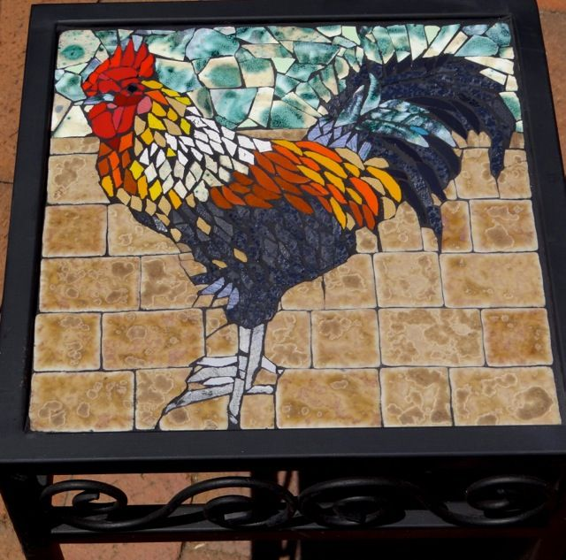 Ceramic till cockerel on square wrought iron table. Private commission.