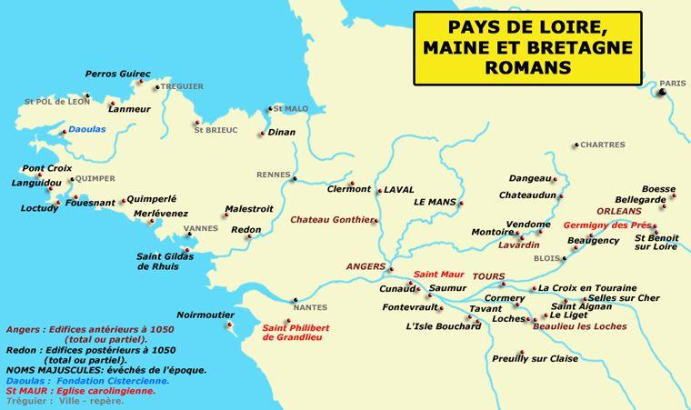 Carte Bretagne Pays De La Loire.Carte Du Pays De La Loire Du Maine Et De La Bretagne Romans