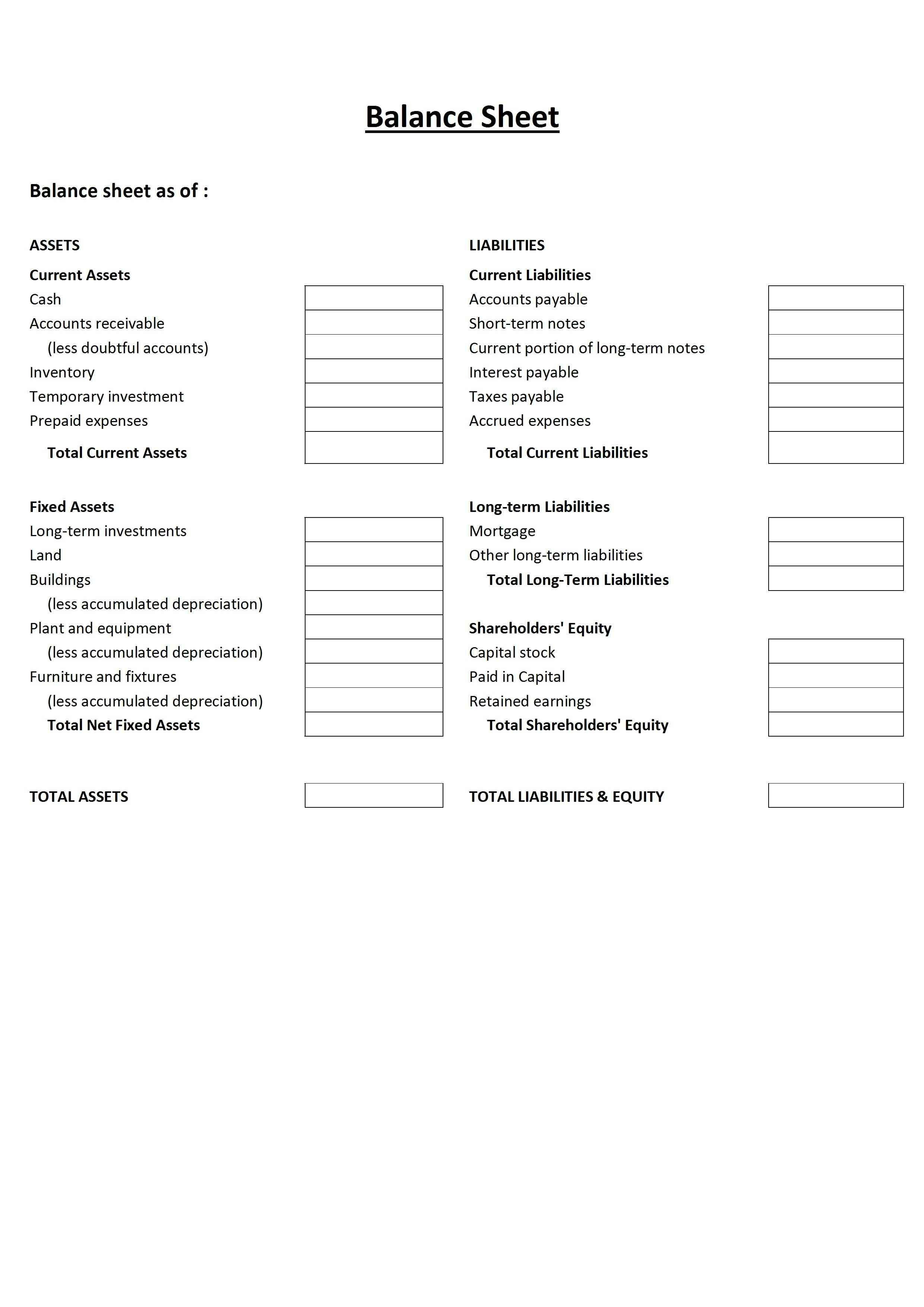 New Blank Balance Sheet Cash Flow Statement Balance Sheet