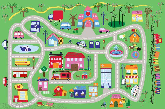 3x5 Area Rug Kids Play Road Street City