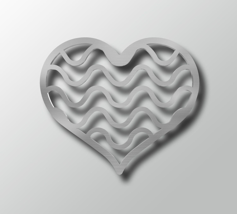White Metal Wall Decor abstract modern heart 7b - metal wall art - heart shaped wall
