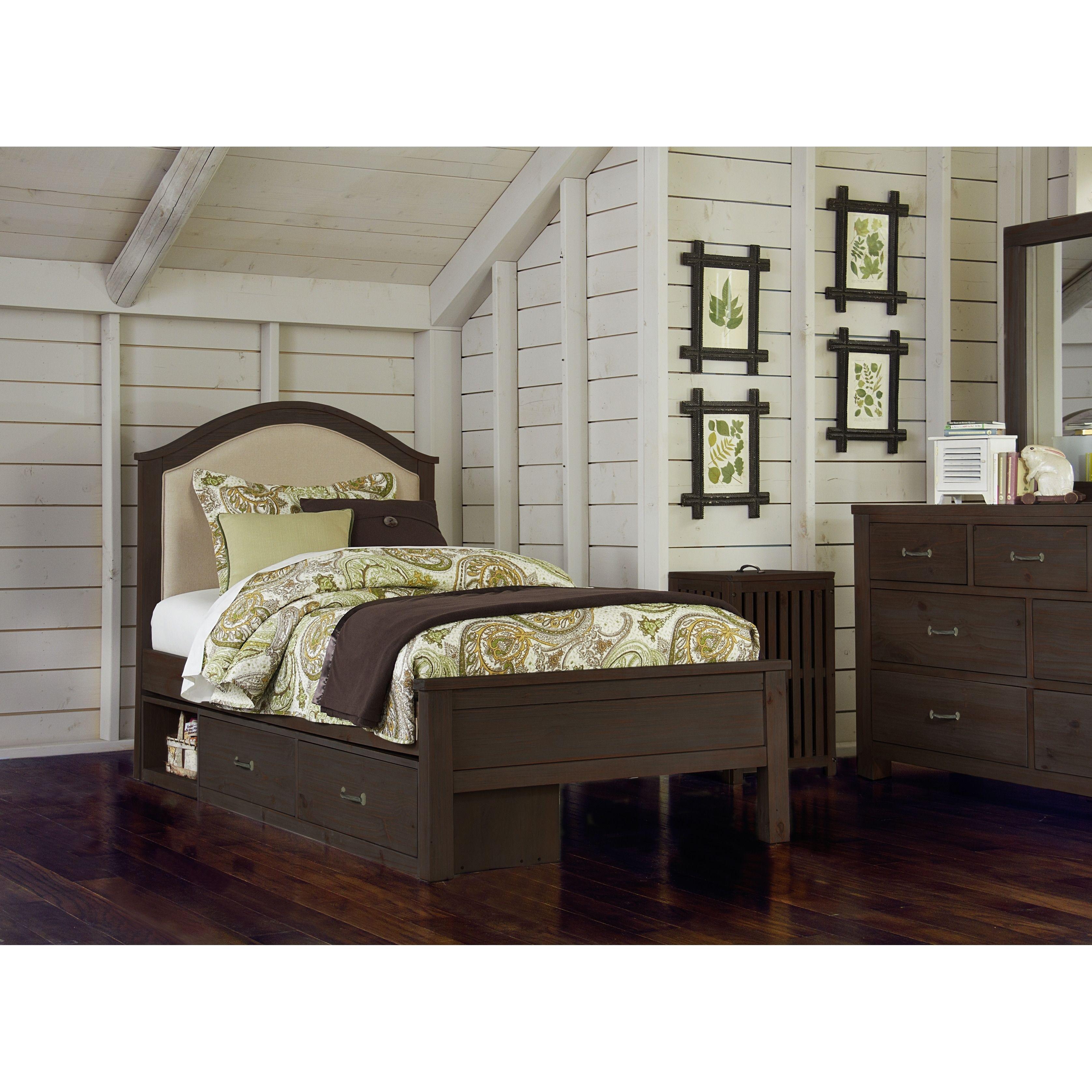 NE Kids Hillsdale Highlands Bailey Espresso Pine Twin Size Upholstered  Storage Bed