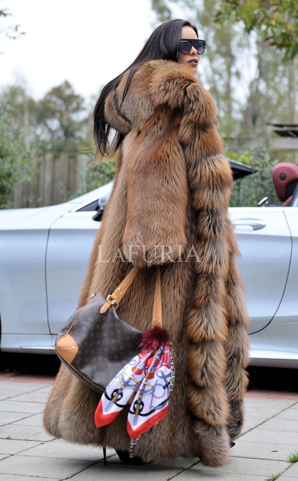 Royal fox fur long coat hood clas of chinchilla russian sable mink ...