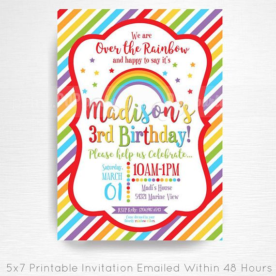 Rainbow Birthday Party Printable Invitation YOU Print Rainbow Party  This is an emailed file, nothing will be shipped to you. Please include your childs name, age and party details in the notes to seller section at checkout.  We will email your high-resolution, print-ready file within