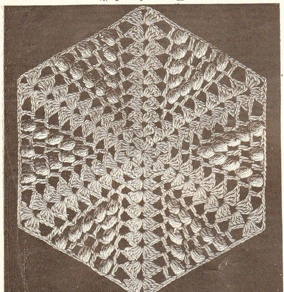 vintage crochet pattern for hexagon shape to make into quilts ...