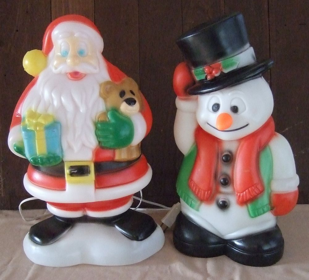 "18 Magical Christmas Yard Decorations: 18"" Santa Claus Snowman Lighted Blow Mold Christmas"