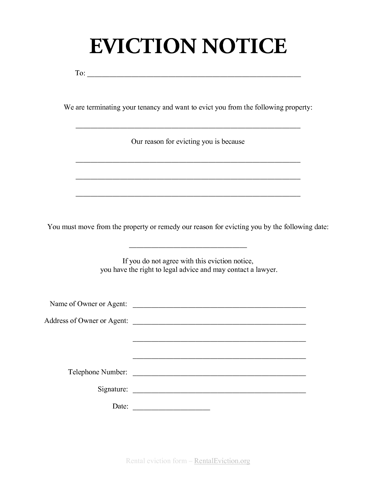 Free Print Out Eviction Notices free rental eviction notice – Copy of an Eviction Notice